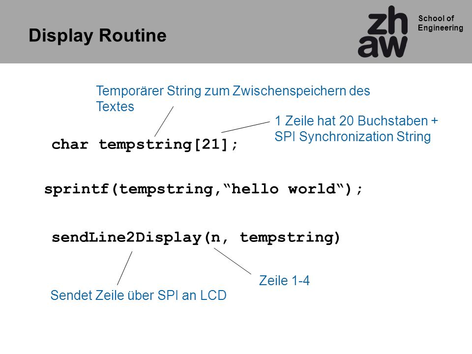 Display Routine char tempstring[21];